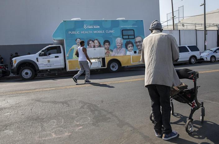 A mobile clinic at 5th Street and Towne Avenue in downtown Los Angeles.