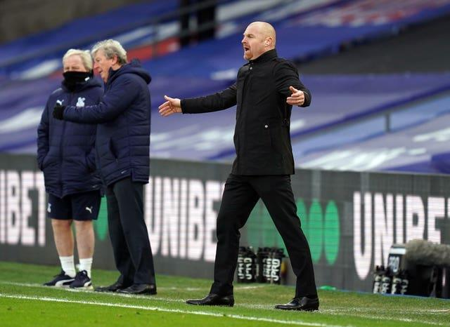 Sean Dyche recorded a 3-0 win at Crystal Palace with Burnley in February