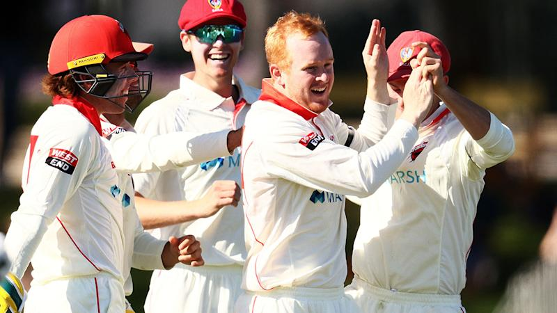 Lloyd Pope, pictured here celebrating a wicket for South Australia against Western Australia.