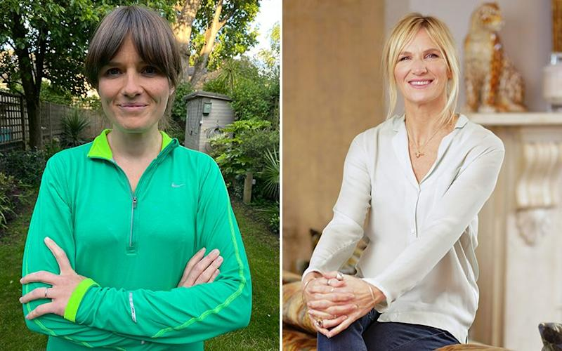 Laura Hamzic, left, designed and scripted the Couch to 5k podcast series. Later editions were voiced by Jo Whiley, right, and Sarah Millican - Laura Hamzic / The Telegraph