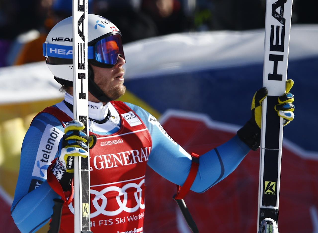 Alpine Skiing - FIS Alpine Skiing World Cup - Men's Super G - Kitzbuehel, Austria - 20/01/17 - Kjetil Jansrud of Norway reacts at the finish line. REUTERS/Leonhard Foeger
