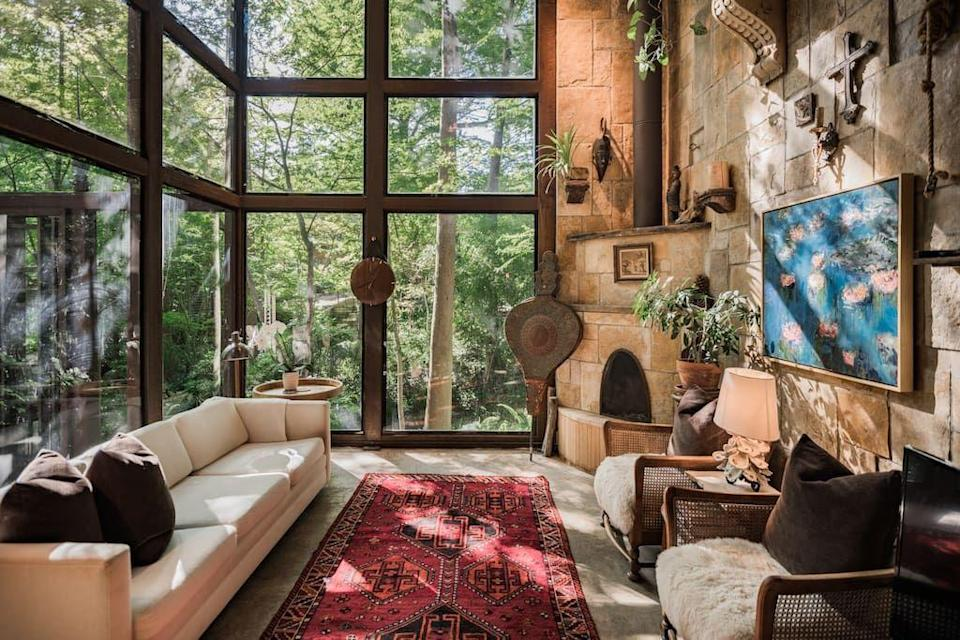 """<p>airbnb.com</p><p><strong>$337.00</strong></p><p><a href=""""https://www.airbnb.com/rooms/20030566"""" rel=""""nofollow noopener"""" target=""""_blank"""" data-ylk=""""slk:BOOK NOW"""" class=""""link rapid-noclick-resp"""">BOOK NOW</a></p><p>Nestled amongst Japanese maples, this Bauhaus treehouse is just across a babbling brook in quiet Little Forest Hills and offers a secluded stay away from the heart of Dallas.</p>"""