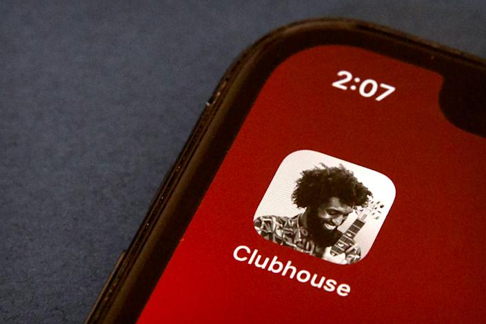 The icon for the social media app Clubhouse is seen on a smartphone screen in Beijing on Feb. 9, 2021.