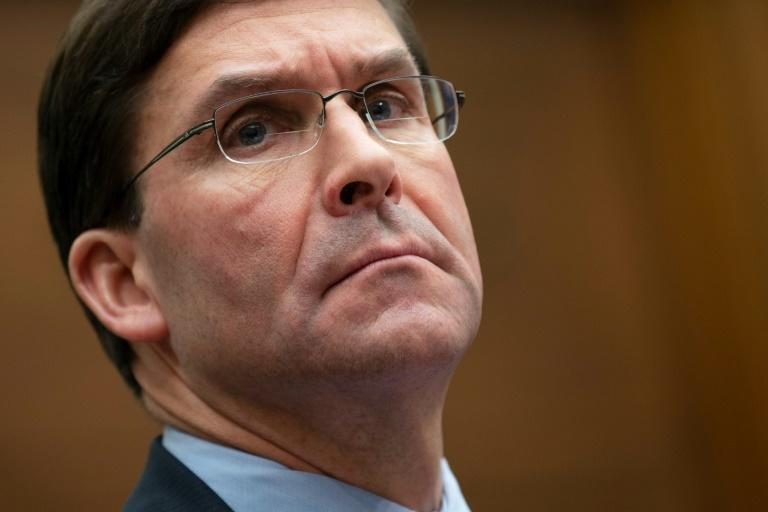 """US Secretary of Defense Mark Esper said the killing of Iranian General Qasem Soleimani has restored a level of deterrence against Tehran testifies before the House Armed Services Committee on Capitol Hill in Washington, DC. The Pentagon warned on January 2, 2020, that the Iran-backed Kataeb Hezbollah group that stormed the US embassy in Baghdad would would carry out more attacks on US facilities -- and would regret it. """"The provocative behavior has been out there for months... So do I think they may do something? Yes. And they will likely regret it,"""" Esper told reporters. (AFP Photo/JIM WATSON)"""