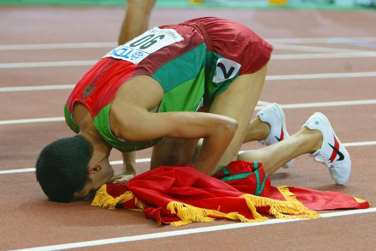 Hicham El Guerrouj of Morocco after winning the 2003 world championships 1500m in Paris