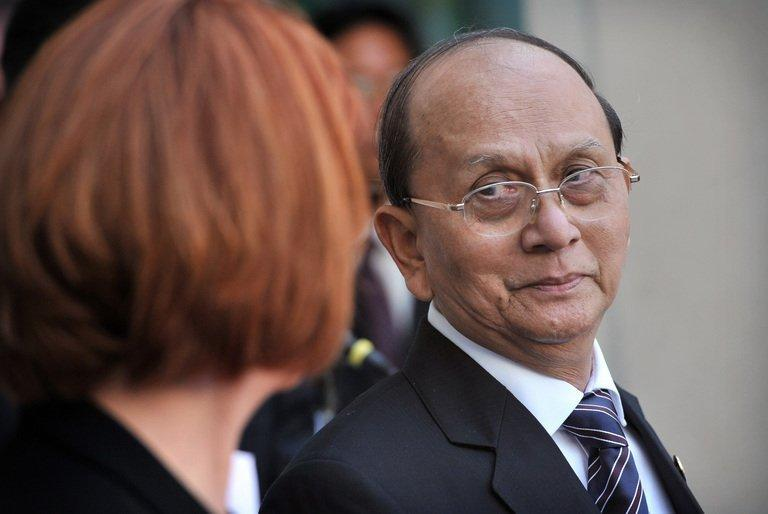 Myanmar President Thein Sein and Australian Prime Minister Julia Gillard at Parliament House on March 18, 2013