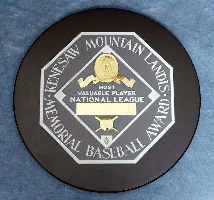 NEW YORK - NOVEMBER 8: The Kenesaw Mountain Landis Memorial Baseball Award presented to the National League Most Valubale Player photographed at the Major League Baseball offices on November 8, 2006 in New York, New York. (Photo by Rich Pilling/MLB via Getty Images)