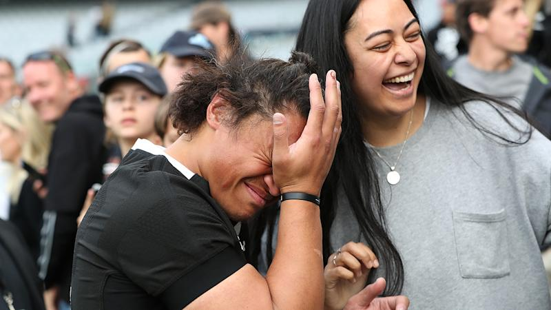 Caleb Clarke, pictured here emotional after the Bledisloe Cup match between the All Blacks and Wallabies at Eden Park.