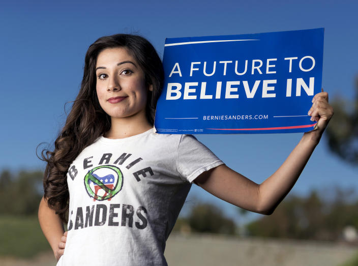 A Bernie Sanders supporter poses for a photo. (Photo by Leonard Ortiz/Digital First Media/Orange County Register via Getty Images)