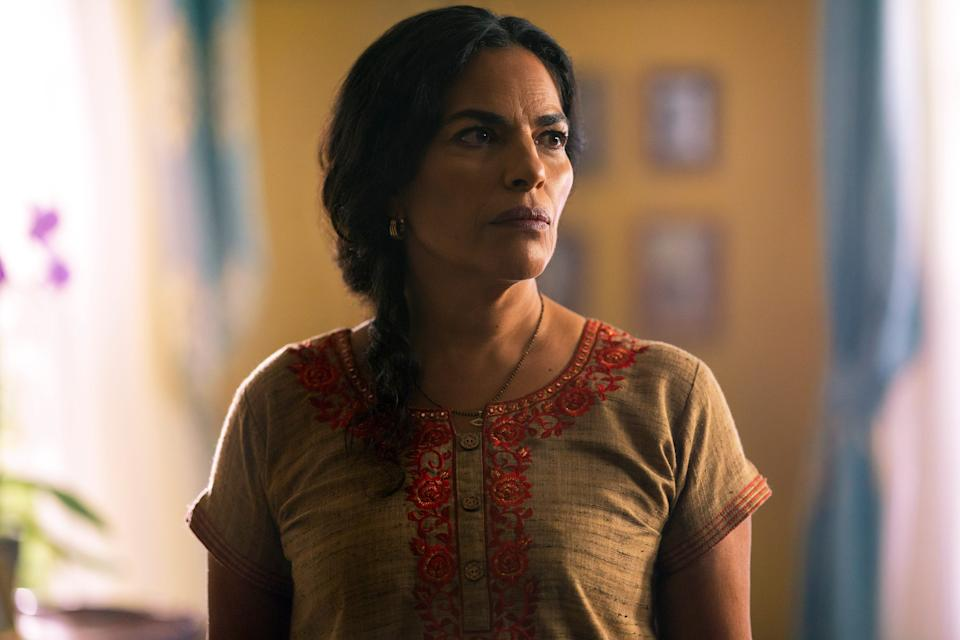 """Sarita Choudhury plays a mom who's sure her daughter's new boyfriend is connected to her own dark past in """"Evil Eye."""""""