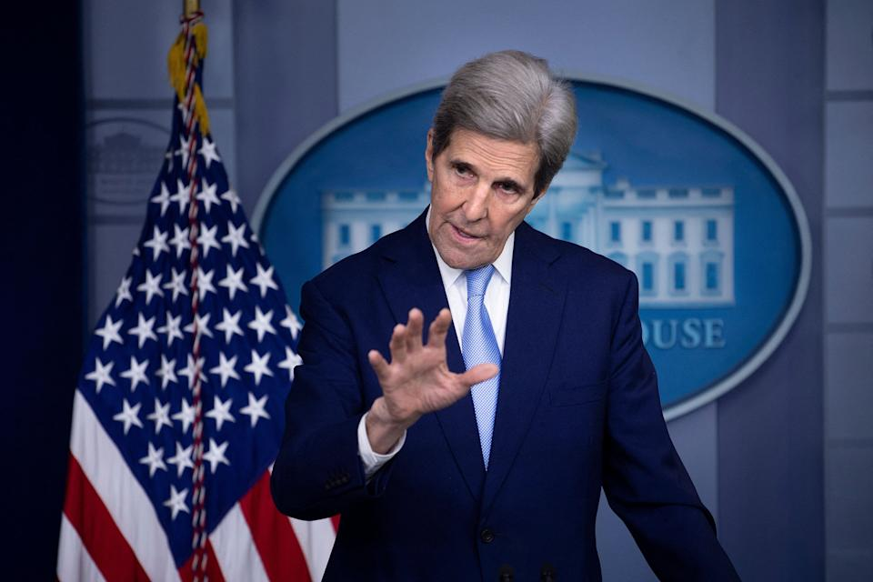White House climate envoy John Kerry speaks during a press briefing on April 22. (Photo: BRENDAN SMIALOWSKI via Getty Images)