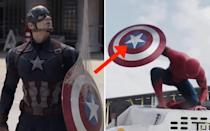 <p>When Spider-Man takes Cap's shield he uses his web on it, but when he lands on the car the web on the shield is gone. Credit: Disney </p>