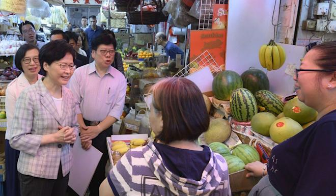 Chief Executive Carrie Lam visits Tai Wai Market on August 7 to interact with shopkeepers and know their problems. Chief Secretary Matthew Cheung says such attempts should not be seen as publicity stunt. Photo: Handout