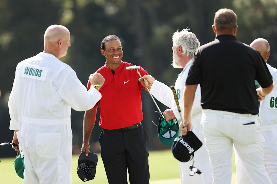 AUGUSTA, GEORGIA - NOVEMBER 15: Tiger Woods of the United States reacts after finishing on the 18th green during the final round of the Masters at Augusta National Golf Club on November 15, 2020 in Augusta, Georgia. (Photo by Patrick Smith/Getty Images)