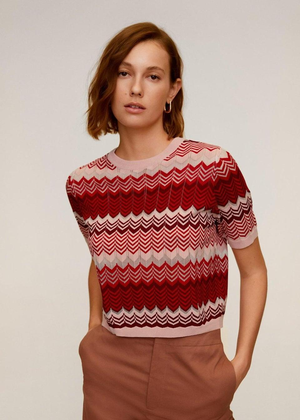 <p>Pair this <span>Printed knit top</span> ($23, originally $46) with tailored pants and slingback heels for a dressy look, or your favorite casual jeans and sneakers for a sporty-chic contrast.</p>