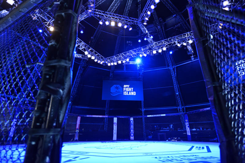 ABU DHABI, UNITED ARAB EMIRATES - JULY 26: A general view of the Octagon prior to the UFC Fight Night event inside Flash Forum on UFC Fight Island on July 26, 2020 in Yas Island, Abu Dhabi, United Arab Emirates. (Photo by Jeff Bottari/Zuffa LLC via Getty Images)