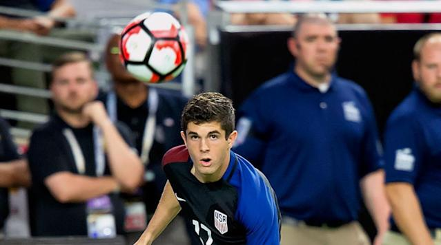 <p>Christian Pulisic of the USA eyes the ball during the Copa America Centenario third place game against Colombia at the University of Phoenix Stadium on June 25, 2016 in Glendale, Ariz.</p>