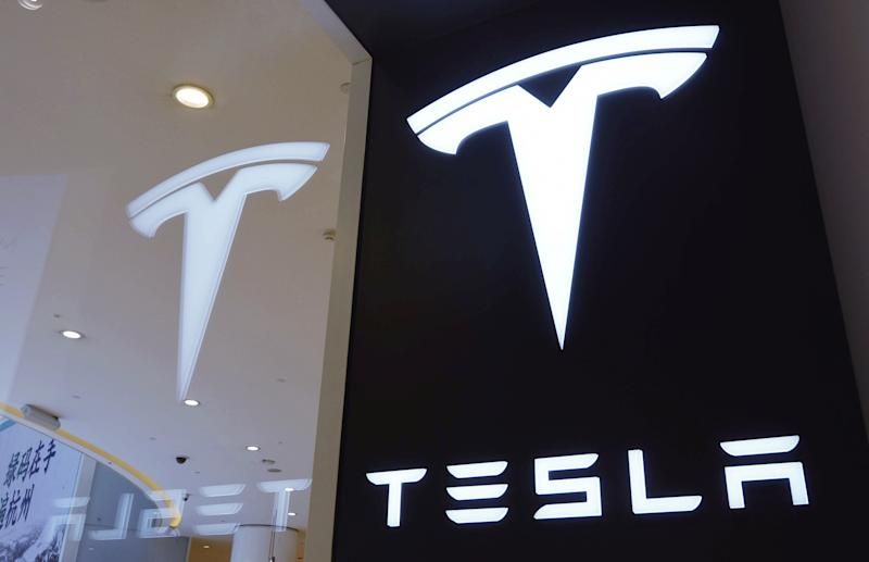HANGZHOU, CHINA - APRIL 21: A Tesla logo is seen at a Tesla store on April 21, 2020 in Hangzhou, Zhejiang Province of China. (Photo by Long Wei/VCG via Getty Images)