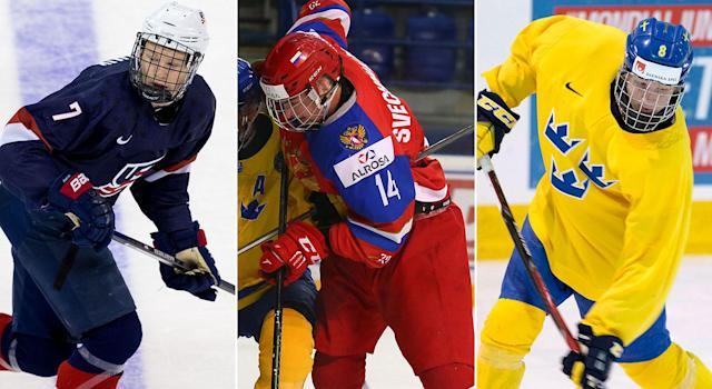 Brady Tkachuk (left), Andrei Svechnikov (centre) and Rasmus Dahlin (right) are the early front-runners atop the 2018 NHL draft.
