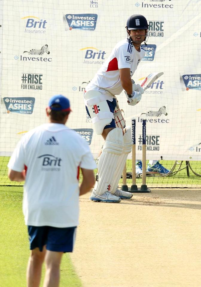 England's Alastair Cook (right) and batting coach Graham Gooch during a nets session at The Kia Oval, London.