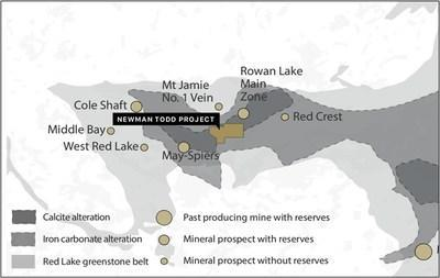 Figure 2:  Location of the Newman Todd Project now owned 100% by Trillium Gold Mines, including producing and past producing mines, mineral prospects, as well as the Red Lake Greenstone belt, geology and alteration packages (CNW Group/Trillium Gold Mines Inc.)