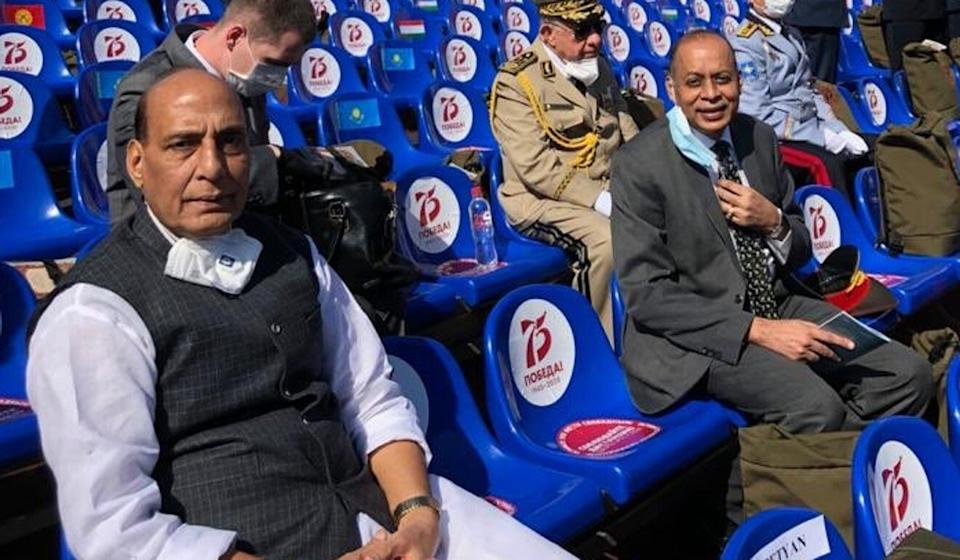 Indian Defence Minister Rajnath Singh (left) attends the 75th anniversary Victory Day parade in Red Square on Wednesday, during his visit to Moscow. Photo: Twitter