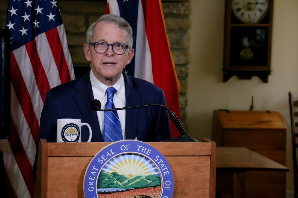 Ohio Gov. Mike DeWine gives an update on the state's COVID-19 response from his Cedarville home on Sept. 15.