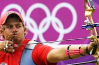 LONDON, ENGLAND - AUGUST 01: Brady Ellison of United States competes in his Men's Individual Archery 1/32 Eliminations match against Mark Javier orf Philippenes during the Men's Individual Archery on Day 5 of the London 2012 Olympic Games at Lord's Cricket Ground on August 1, 2012 in London, England. (Photo by Paul Gilham/Getty Images)