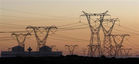 Electricity pylons carry power from Cape Town's Koeberg nuclear power plant