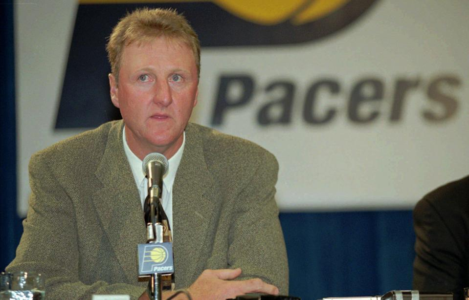 FILE - This May 12, 1997 file photo shows Larry Bird speaking as the new coach of the Indiana Pacers, at a news conference in Indianapolis. The Pacers have parted ways with Bird. Owner Herb Simon announced the move Wednesday, June 27, 2012, one day before the NBA draft. (AP Photo/Tom Strattman, File)