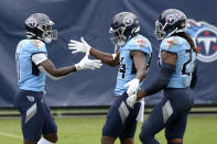 Tennessee Titans wide receiver A.J. Brown (11) is congratulated by Corey Davis (84) and Derrick Henry (22) after Brown scored a touchdown on a 73-yard pass reception against the Pittsburgh Steelers in the second half of an NFL football game Sunday, Oct. 25, 2020, in Nashville, Tenn. (AP Photo/Mark Zaleski)
