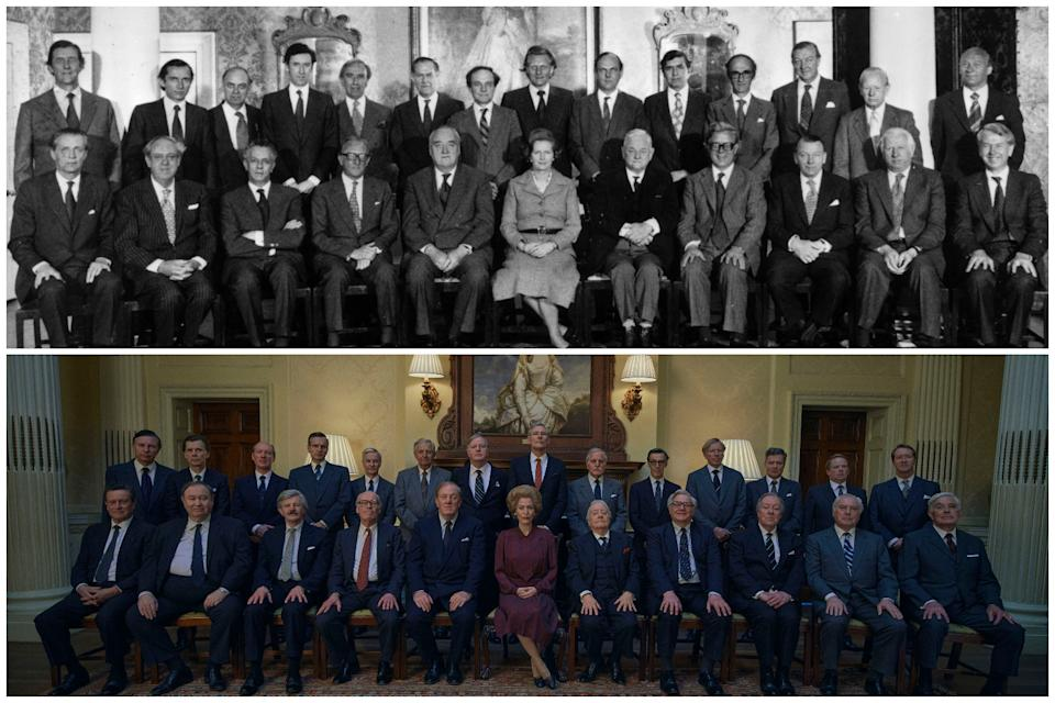 Mrs Thatcher's cabinet in 1979 and as depicted in The CrownHulton Archive/Getty Images/Netflix