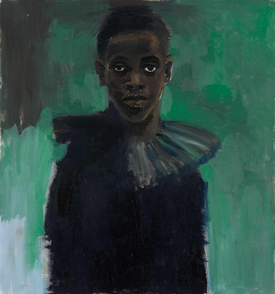 <p>A detail from Lynette Yiadom-Boakye's A Passion Like No Other, 2012, on display at Tate Britain</p> (Lynette Yiadom-Boakye)