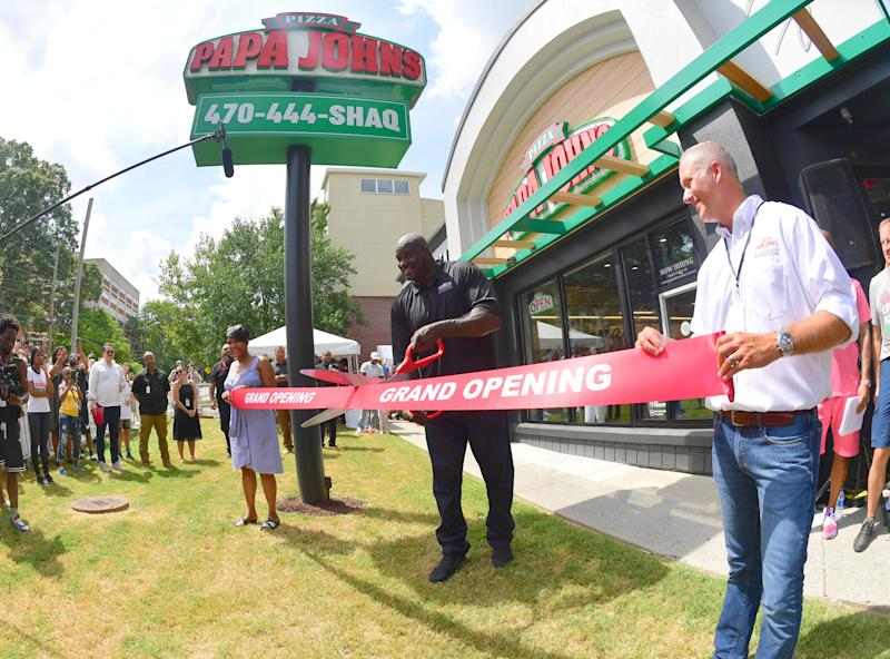 ATLANTA, GA - AUGUST 24: Keisha Lance Bottoms, Steve Ritchie and Shaquille O'Neal attend Shaq's Papa John's Pizza Grand Opening on August 24, 2019 in Atlanta, Georgia. (Prince Williams/Wireimage)