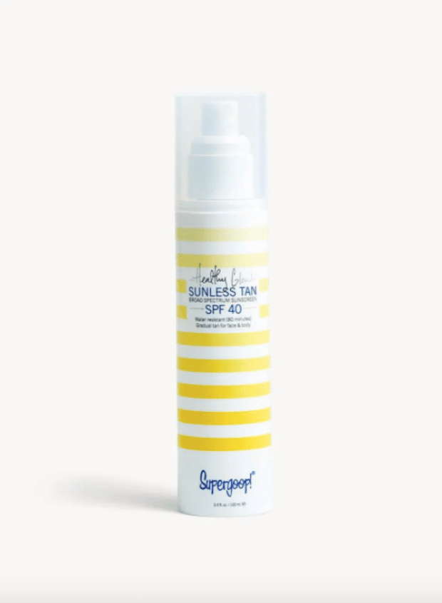 """<p>Supergoop Healthy Glow Sunless Tan, $38, <a href=""""https://rstyle.me/+7zCSDv_qQhBlzuDhXm1Hcg"""" rel=""""nofollow noopener"""" target=""""_blank"""" data-ylk=""""slk:available here"""" class=""""link rapid-noclick-resp"""">available here</a>.</p>"""