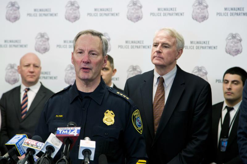 Milwaukee Police Chief Flynn speaks at a news conference for the 300-year-old Stradivarius violin that was taken from the Milwaukee Symphony Orchestra's concertmaster in an armed robbery after it was recently recovered, in Milwaukee