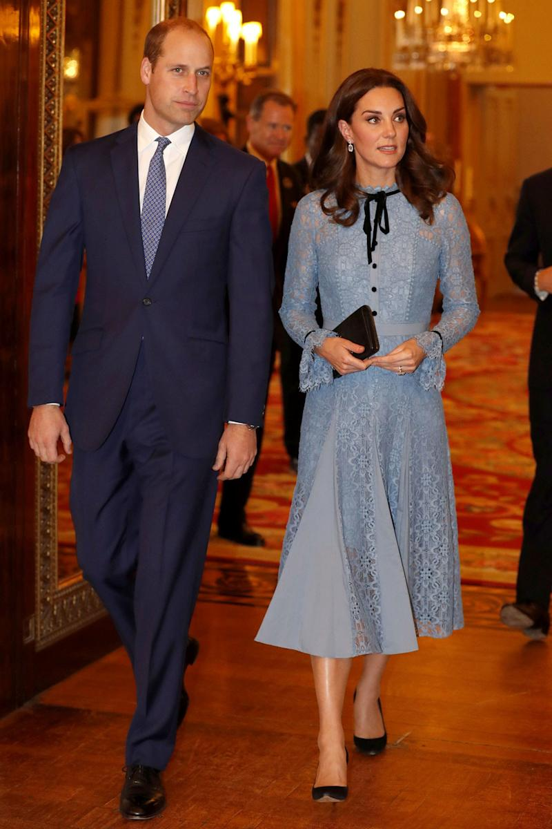 October 10: For Kate's first appearance following the announcement of her third pregnancy: a light blue lacy dress. (Get ready for a whole lot of blue, you guys. More consecutive blue than you've probably dealt with for some time.)