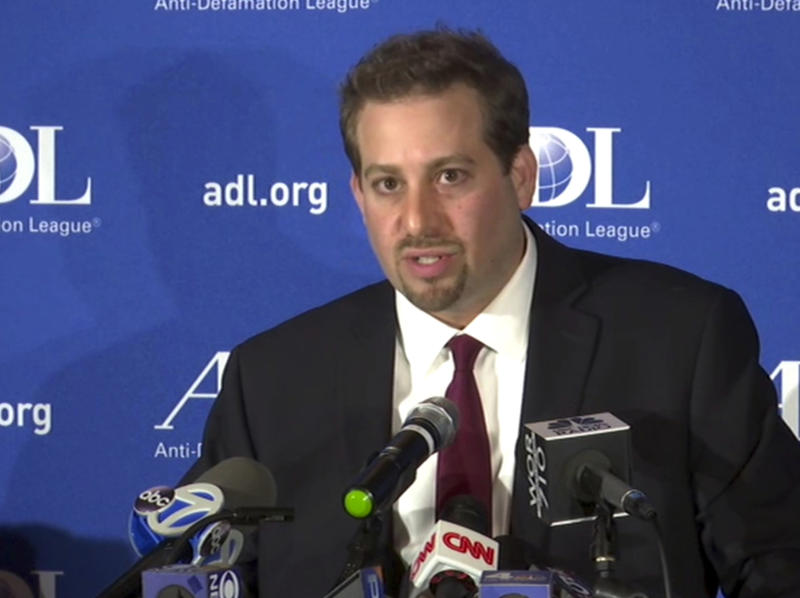 In this image taken from video, Oren Segal, Co-Director of the Anti-Defamation League's Center on Extremism, addresses the media at a news conference at ADL Headquarters in New York, Friday, March 3, 2017. Segal commented on the arrest of a Missouri man in connection with threats made to at least eight Jewish institutions nationwide and the Anti-Defamation League's headquarters in New York City. He also commented on the recent rise of anti-Semitic activity in general. (AP Photo/Ted Shaffrey)