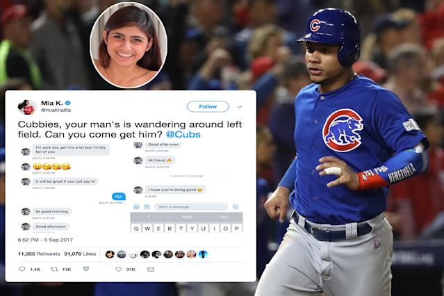 "<p>Contreras has a courtship game that just won't quit. The Chicago Cubs catcher made headlines off the field in 2017 when former <a href=""https://ca.sports.yahoo.com/reliving-most-mortifying-athlete-dm-182239348.html"" data-ylk=""slk:porn star Mia Khalifa;outcm:mb_qualified_link;_E:mb_qualified_link"" class=""link rapid-noclick-resp newsroom-embed-article"">porn star Mia Khalifa</a> revealed the direct messages she'd received from Contreras. The catcher proves he's got game with scorching pickup lines such as ""Mi friend ."" A spokesperson for Contreras' agency claimed that their client's Twitter had been hacked. </p>"