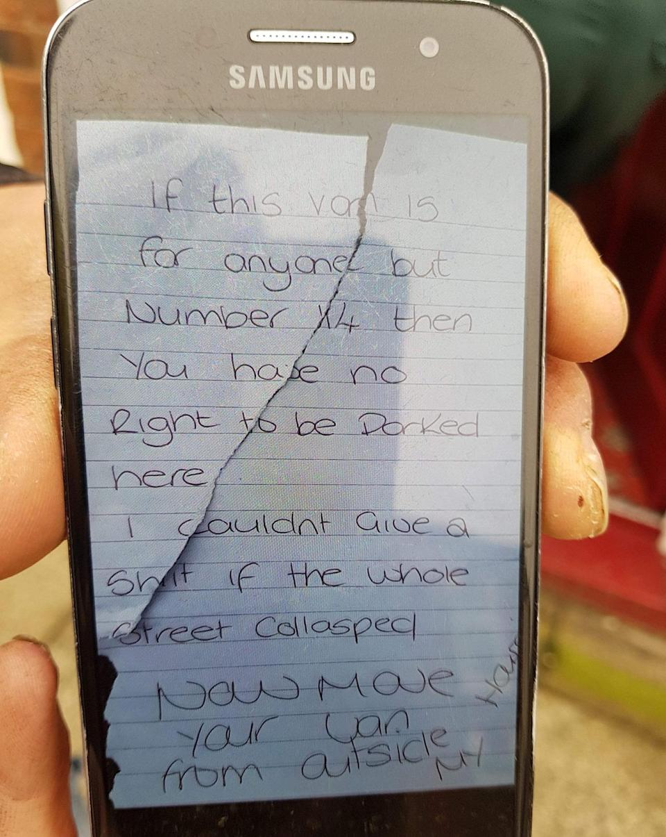 The 'despicable' note left by Kirsty Sharman in full. (SWNS)