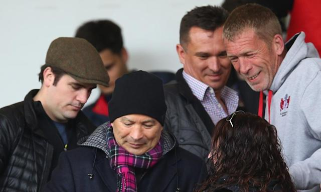 "<span class=""element-image__caption"">A day after watching Harlequins against Exeter England's coach, Eddie Jones was at Gloucester versus Sale.</span> <span class=""element-image__credit"">Photograph: Steve Bardens/Getty Images</span>"