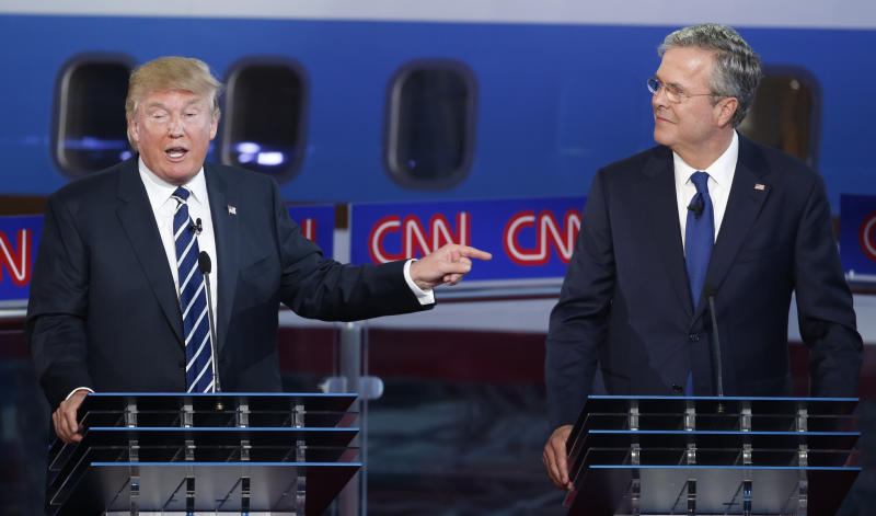 Donald Trump and former Florida Gov. Jeb Bush at the second Republican presidential debate in 2015. (Photo: Lucy Nicholson/Reuters)