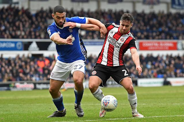 "Soccer Football - Championship - Ipswich Town vs Sheffield United - Portman Road, Ipswich, Britain - March 10, 2018 Ipswich's Cameron Carter-Vickers in action with Sheffield United's George Baldock Action Images/Alan Walter EDITORIAL USE ONLY. No use with unauthorized audio, video, data, fixture lists, club/league logos or ""live"" services. Online in-match use limited to 75 images, no video emulation. No use in betting, games or single club/league/player publications. Please contact your account representative for further details."