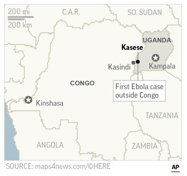Map locates Kasese, Uganda, where the first Ebola case outside Congo outbreak was reported; 2c x 3 1/2 inches; 96.3 mm x 88 mm;