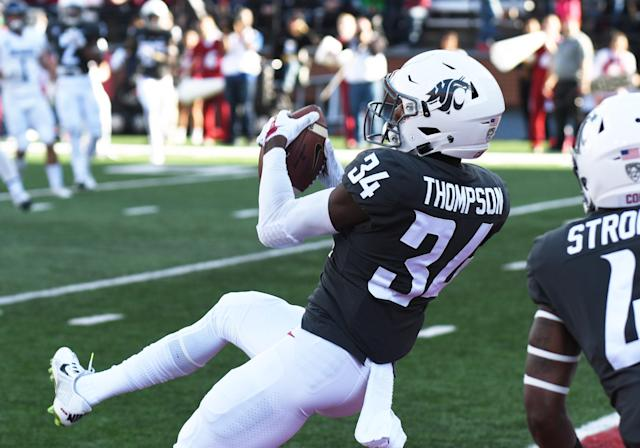 Washington State safety Jalen Thompson pulls in an interception against Nevada in 2017. (Getty Images)