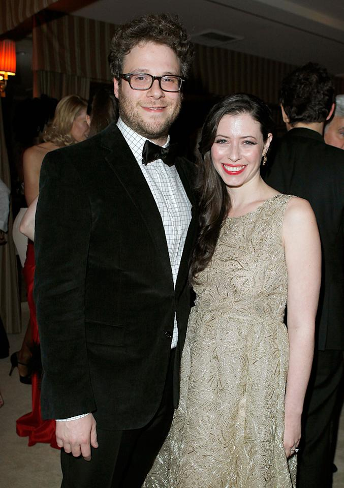 Seth Rogen and Lauren Miller attend the 2012 Vanity Fair Oscar Party in Los Angeles, CA.