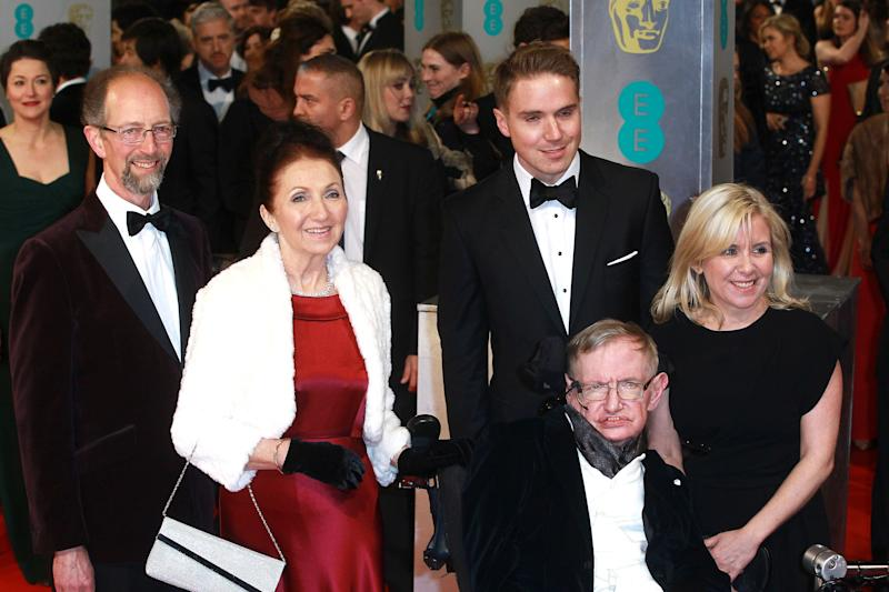 Stephen Hawking, Jane Wilde Hawking and family attend the British Academy Film Awards at The Royal Opera House on Feb. 8, 2015 in London.