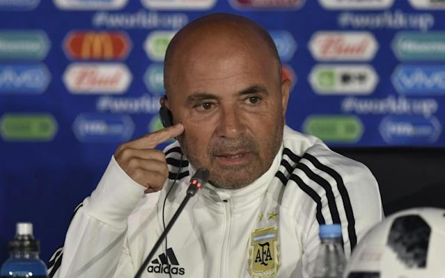 Argentina coach Jorge Sampaoli attends a press conference in Moscow