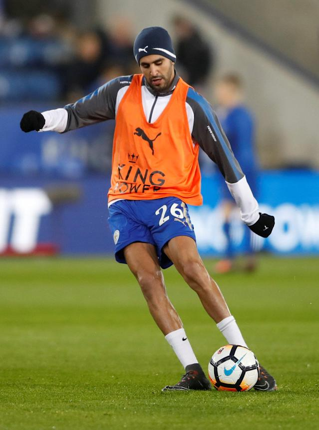 Soccer Football - FA Cup Fifth Round - Leicester City vs Sheffield United - King Power Stadium, Leicester, Britain - February 16, 2018 Leicester City's Riyad Mahrez during the warm up before the match Action Images via Reuters/Carl Recine