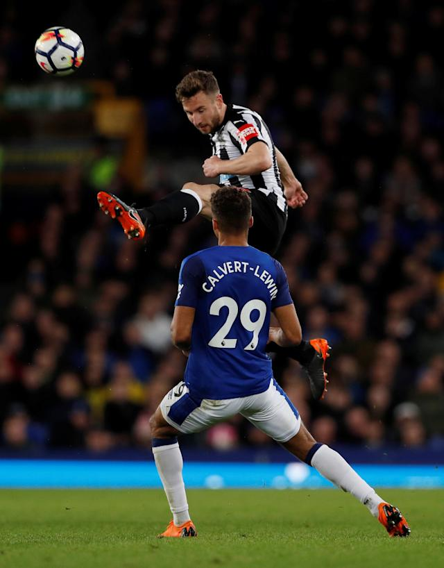 "Soccer Football - Premier League - Everton v Newcastle United - Goodison Park, Liverpool, Britain - April 23, 2018 Newcastle United's Paul Dummett in action with Everton's Dominic Calvert-Lewin Action Images via Reuters/Lee Smith EDITORIAL USE ONLY. No use with unauthorized audio, video, data, fixture lists, club/league logos or ""live"" services. Online in-match use limited to 75 images, no video emulation. No use in betting, games or single club/league/player publications. Please contact your account representative for further details."